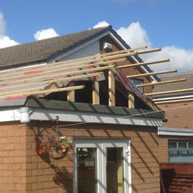 roof on little extension in progress
