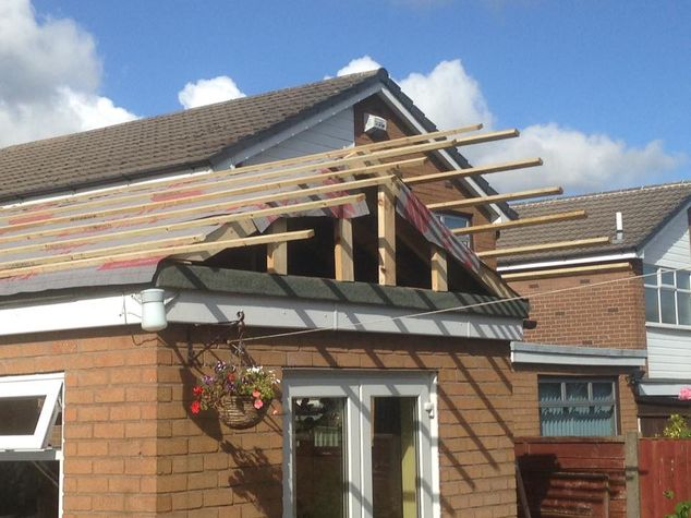 Roof installation on extension