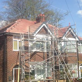 new roof with scaffolding